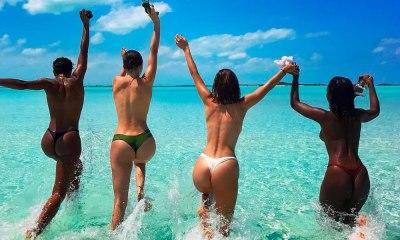 Bella Hadid e Kendall Jenner aproveitam o mar de topless