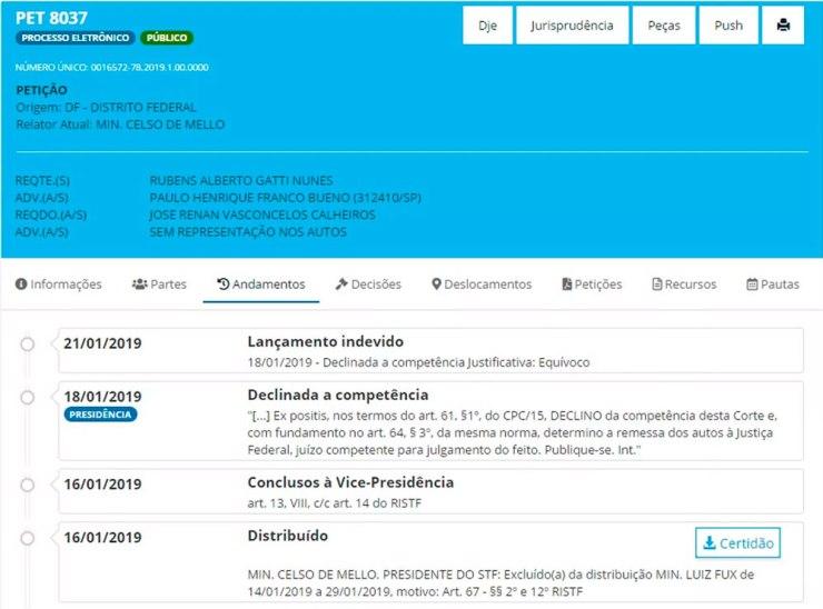 Registro de 'lançamento indevido' de decisão do ministro Luiz Fux sobre Renan Calheiros em página do site do Supremo Tribunal Federal.  Foto: Reprodução / site STF