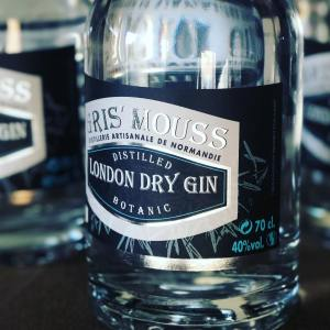 etiquette gin brasserie gris'mouss en normandie, vente de spiritueux et de bière