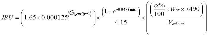 Formule de calcul des IBU dans la bière - Approximation de Glenn Tinseth