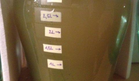 Hydromel #1 S-23, fermentation ralentie après 4 jours à 10,5°C. Les levures sont un peu au fond et un glou toutes les 18 secondes