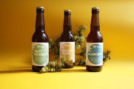 Photo groupée étiquettes bière avec houblon - Micro-Brasserie du Vallon Alsace