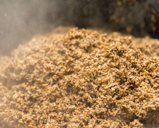 photo de drêches de bière blonde - fûmée chaleur - brassage artisanal - céréales malt