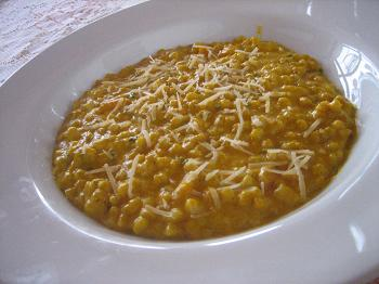 Risoto de moranga com cevada no lugar do arroz