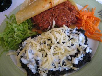 Taco de carne desfiada do Viva México