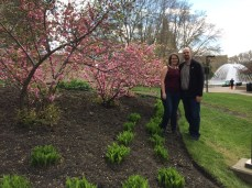 Lenora and I outside the Legislature with the start of spring Buds beginning to appear.