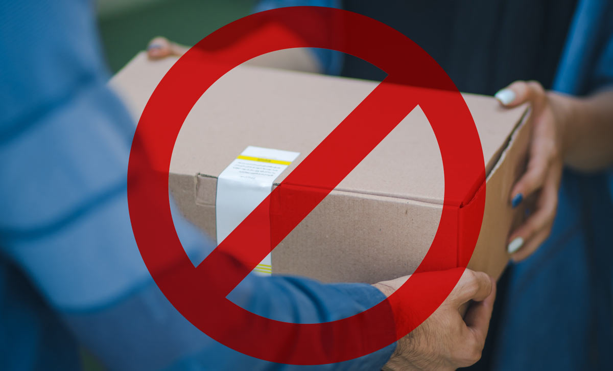 item proibidos para redirecionamento de Encomendas