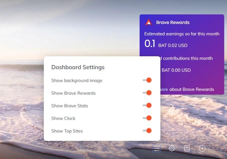 dashboard settings szponzorált háttérképek brave böngésző