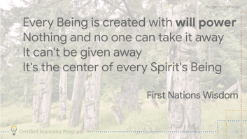 Every Being is created with will power Nothing and no one can take it away It can't be given away It's the center of every Spirit's Being First Nations Wisdom