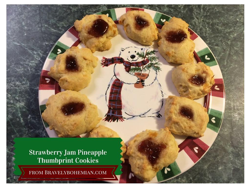 Strawberry Jam Pineapple Thumbprint Cookies