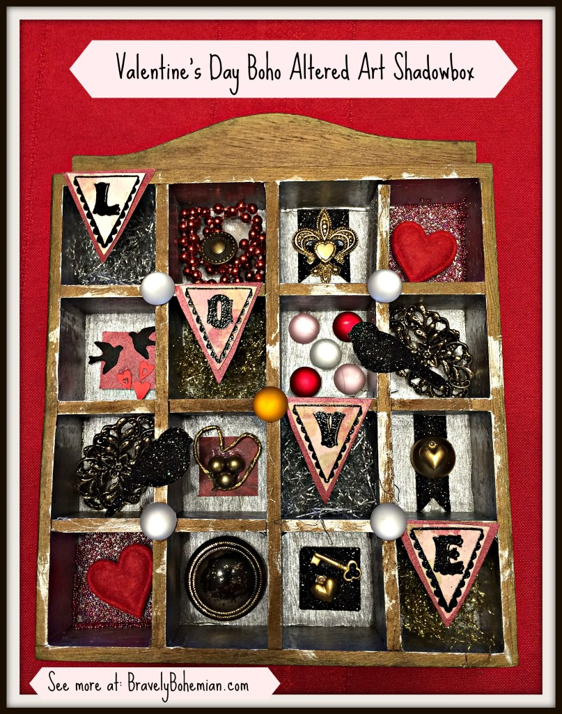 boho altered art_shadowbox_Valentine's_Day_art_ideas
