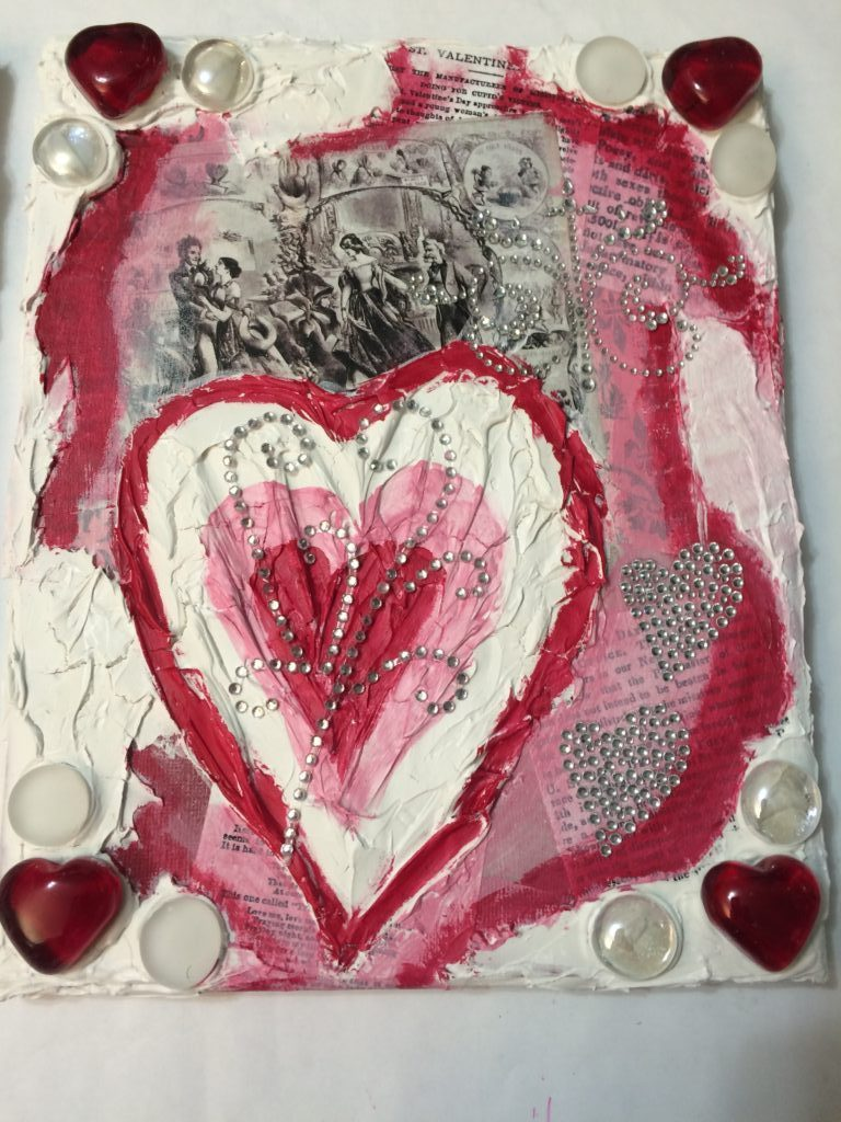 Valentine's Day mixed media project_painted hearts over collage