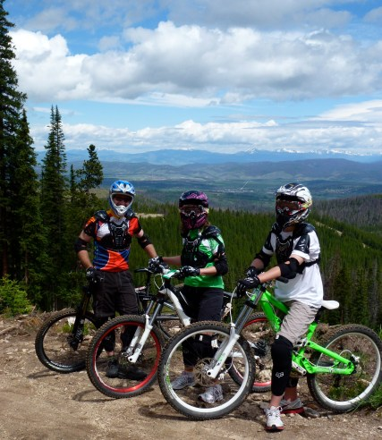Downhill bikers ready to ride at the trestle bike park in winter park colorado