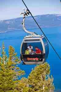the heavenly resort gondola above lake tahoe taking hikers to a trail