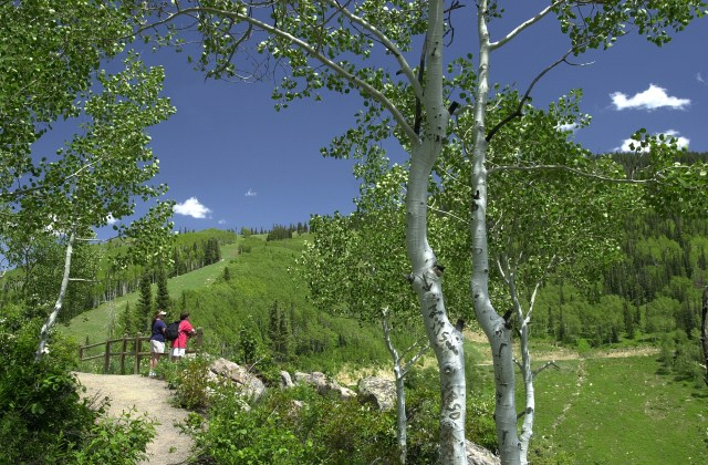 two people standing on a trail bridge looking at steamboat mountain during a hike