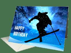 freestyle skier birthday card