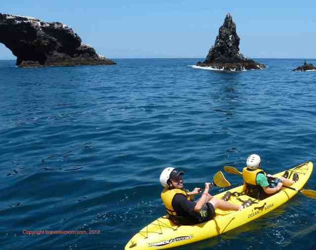 Two people in sea kayaks Channel Islands national park