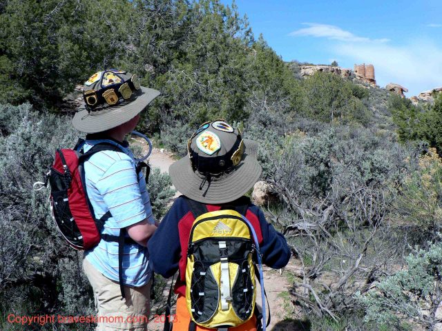 boys hiking hovenweep national monument