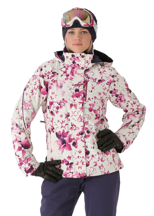 Salomon Women's Brilliant Jacket in White/Wild Berry