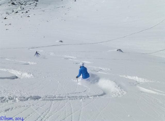 people skiing powder at ski portillo chile