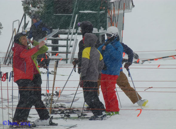 powder day lift line collins alta