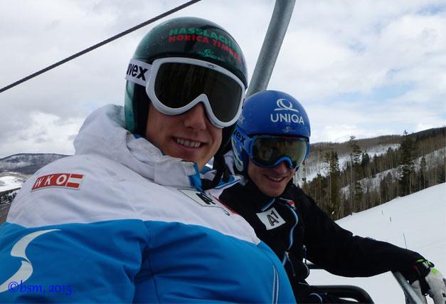 austrian ski racers striedlinger and mayer