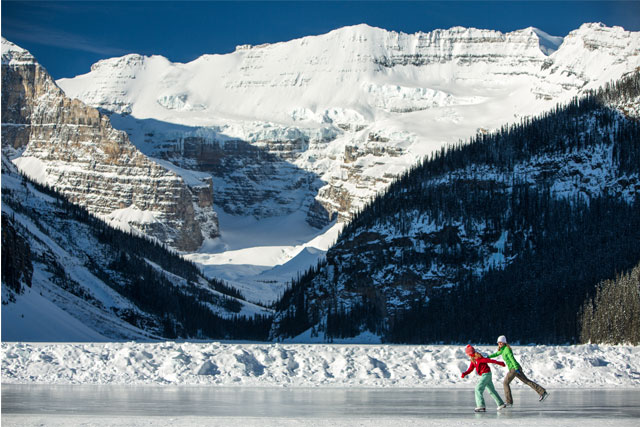 ice skating on lake louise