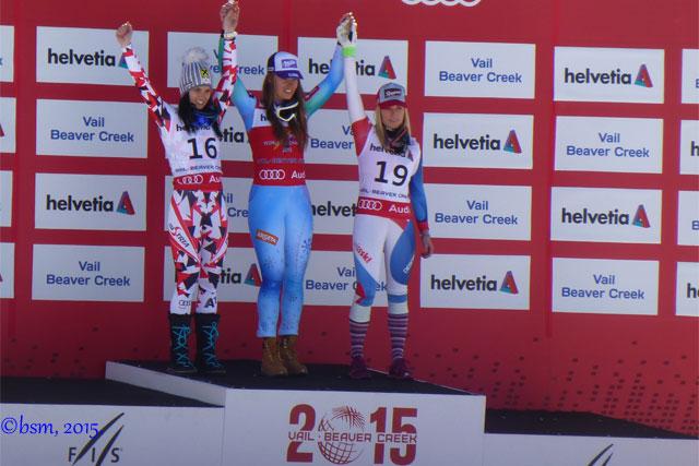 podium women's downhill