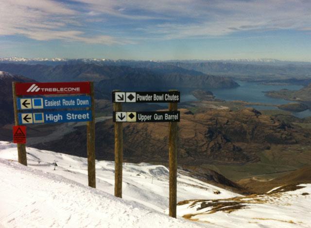 ski run signs treble cone new zealand