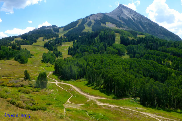 beautiful mount crested butte colorado in summer with downhill bike trails all around it
