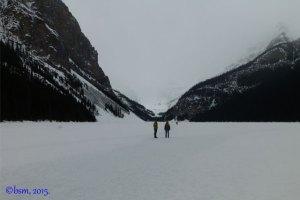 walk across frozen lake louise