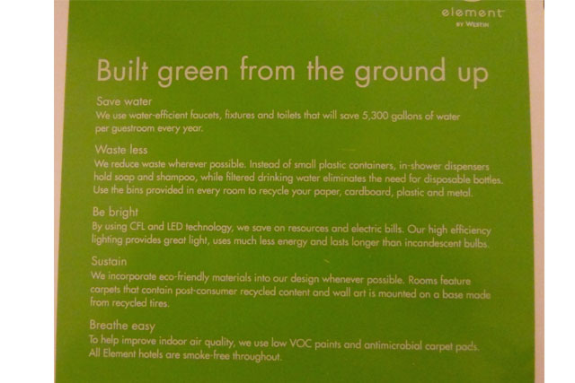 sustainability element by westin