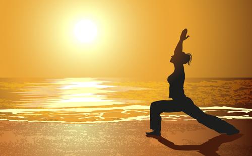 creative yoga and sunset