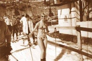 a basin bikini skier