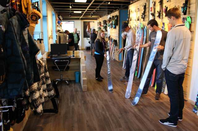 people buying skis at Powder 7 Ski Shop in Golden, Colorado