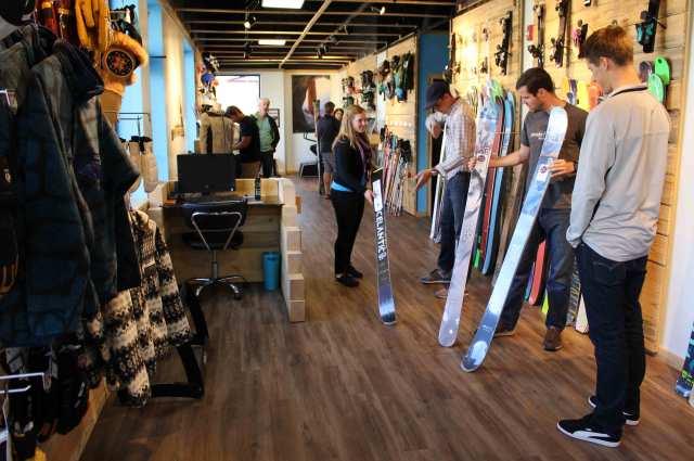 people buying skis at Powder 7 Ski Shop in Golden, Colorado