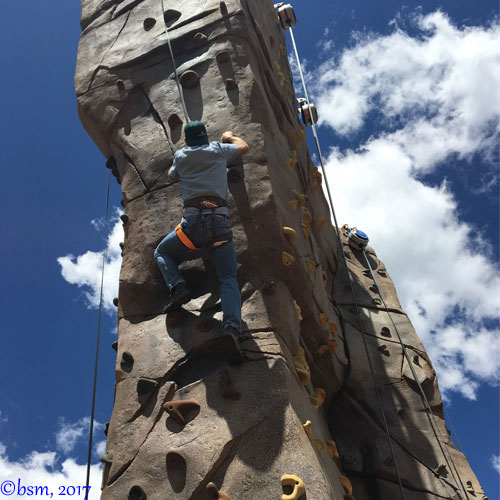 climbing the Gold Summit wall at alpine camp at breckenridge epic discovery