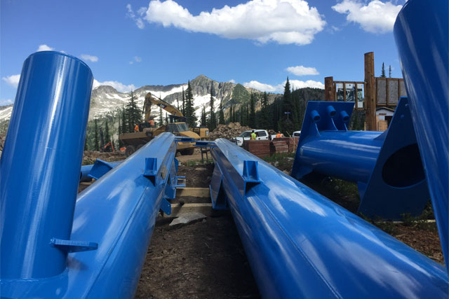 lift poles for a new chairlift being installed at Whitewater ski resort