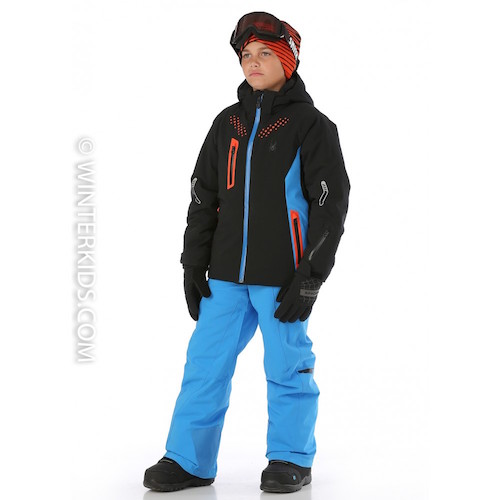 Spyder Boys Vail Jacket in Black and French Blue