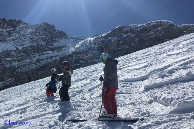 family skiing at alta