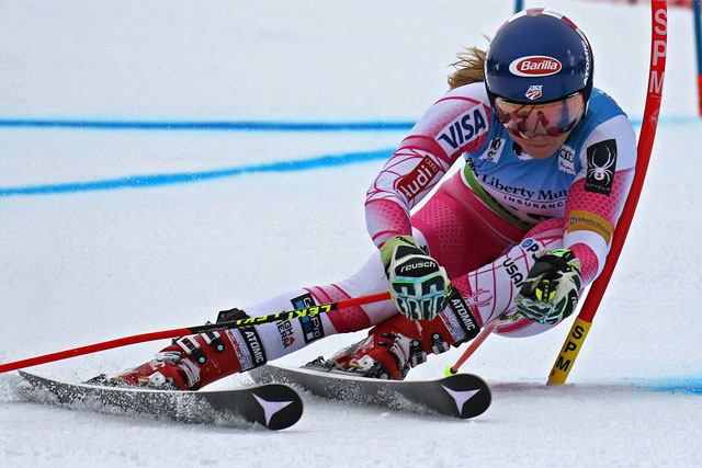 Mikaela Shiffrin competes in the first run of the Giant Slalom during the 2016 World Cup at Killington. Photo by Martin Griff.