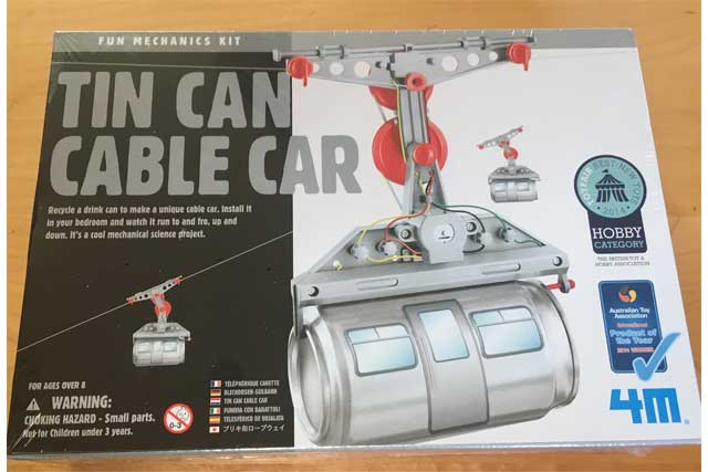 tin can cable car toy
