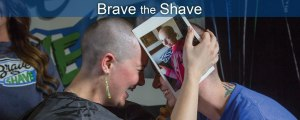 women laughing at brave the shave