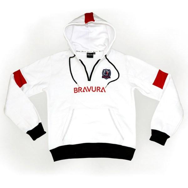 White black and red half zip hoodie