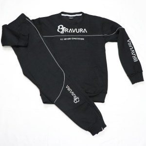 Black Sweatsuit with 3D embroidery and reflective strip by bravura