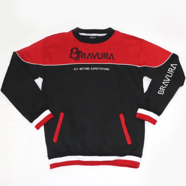 Black and Red crew neck sweatshirt with 3D embroidery