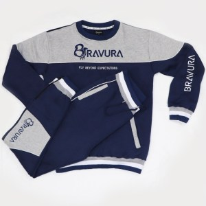 Navy Blue Sweatsuit with 3D Embroidery by Bravura