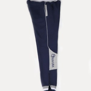 Navy Blue sweatpants by Bravura with zipper on the bottom pants leg for extra comfort