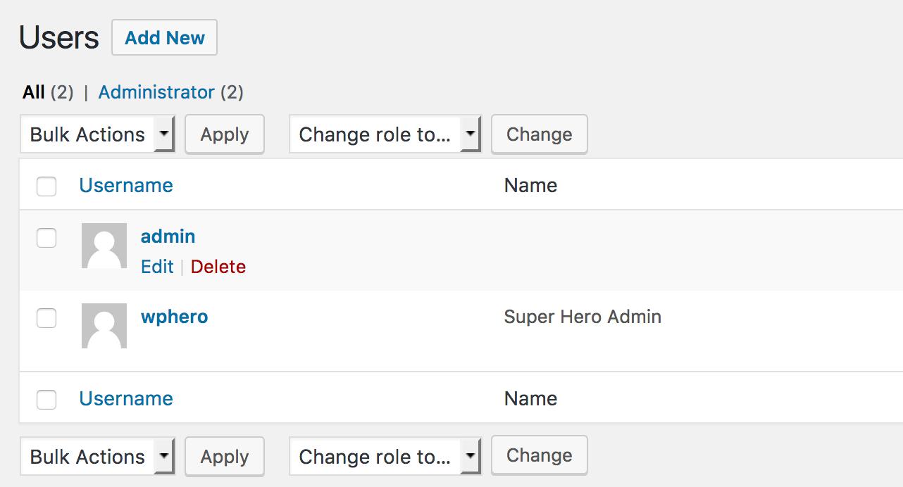 Screenshot showing an alternastive admin account called 'wphero'