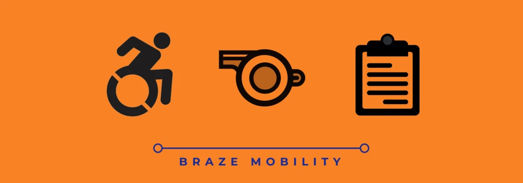 Braze Mobility with the three symbols depicting accessibility, a whistle and clipboard